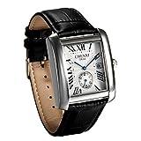 JewelryWe Herren Armbanduhr, Retro Kalender Analog Quarz Uhr mit Rechteckig Römischen Ziffern Zifferblatt und Leder Armband, Farbe: Schwarz