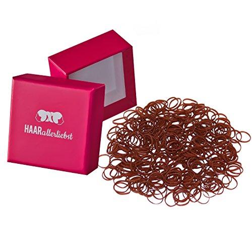 HAARallerliebst Haargummis Gummibänder mini klein (250 Stück | braun | 1cm) inkl. Schachtel zur Aufbewahrung (Schachtelfarbe: pink)