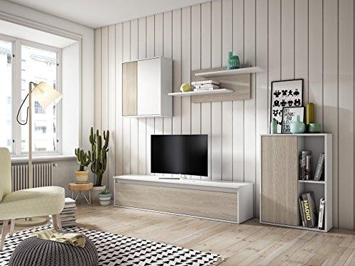 Muebles Place-Salón Comedor Moderno Tex/Mueble TV de 160 cm/Color Blanco y Roble/Modulos que posibilitan el libre montaje