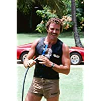 Tom Selleck in Magnum, P.I. with Ferrari 308 GTS in background 24x36inch (60x91cm) Poster