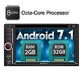 PUMPKIN Android 7.1 Autoradio 2 DIN Octa Core 32GB + 2GB Radio mit GPS Navigation 6,2 Zoll Bildschirm Unsterstützt Bluetooth WLAN DAB+ Android Auto...