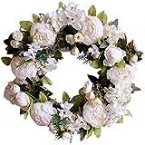 couronne de printemps d/écorative pour mur Wyi Couronne dhortensia artificielle de 45,7 cm pour porte dentr/ée faite /à la main blanc et rose couronne florale avec feuilles vertes