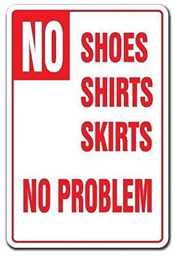 WallAdorn No Shoes Shirts Skirts No Problem Pool Spa Backyard Swim Warning Eisen Blechschild Vintage Wall Decor für Cafe Bar Pub Home -