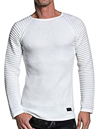 BLZ jeans - Pull homme fine maille relief blanc ST-582 blanc