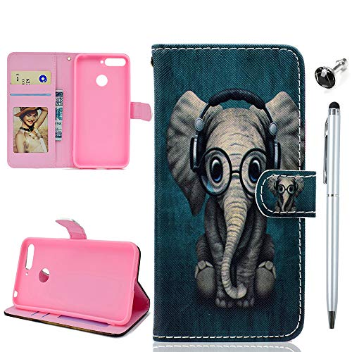 Honor 7A Handyhülle Huawei Y6 2018 Tasche Hülle Case Malen Muster Ledertasche Flipcase Cover Silikon Schutzhülle Handytasche Skin Ständer Klapphülle Schale Bumper Magnetverschluss Deckel-Elefant