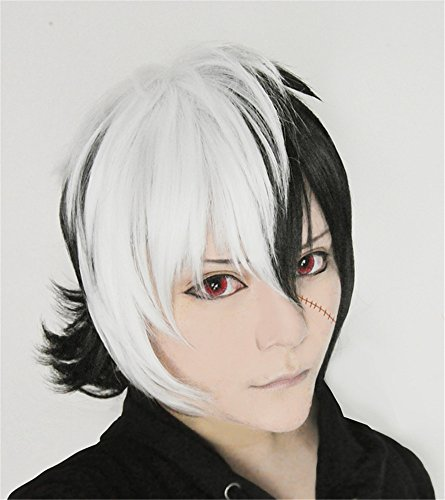 LanTing Cosplay Perücke Young Black Jack Black Mix White Cosplay Party Fashion Anime Human Costume Full wigs Synthetic Haar Heat Resistant Fiber