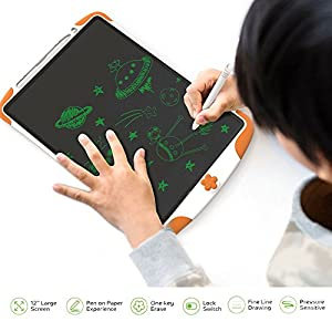 LCD Writing Tablet for Kids - Children Digital Sketch Pad Paperless Handwriting Drawing Board Electronic Doodle eWriter with Pencil Set for Girls Boys 12 Inch Graphic Tablets Memo Notepad