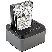 """Duplicatore/Clone Spinido Offline per Hard Disk con Doppio Alloggiamento USB 3.0 a 3,5"""" o 2,5"""". Docking Station Esterna Senza Attrezzi in Alluminio per Hard Disk SATA III Ottimizzato per SSD e HDD 2* 6TB (Nero Grigio)"""