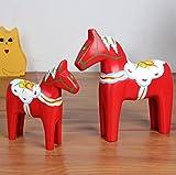 UChic 2 Teile / satz Schwedische Red Horse Holz Handwerk Hochzeit Wohnkultur Handwerk Dara Trojan Horse Nordic Holz handwerk Holz handbemalte Ornament