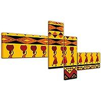 """Bilderdepot24 Cuadros en Lienzo """"Diseño de África"""" 200x90 cm 4 piezas - listo tensa, directamente desde el fabricante"""