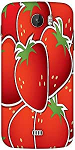 Snoogg Strawberry Sticker Background Card In Vector Format Designer Protective Back Case Cover For Micromax A110