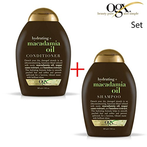 OGX (ehemals Organix) Hydrating Macadamia Oil Shampoo 385ml + CONDITIONER/ SPÜLUNG 385ml - für anhaltenden Style bei welligem und lockigem Haar (Herbal Hydrating Shampoo)