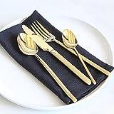 KIBOOM, servizio di posate di lusso, alta qualità, 18/10(304), servizio per 1 persona, in acciaio inox Gold