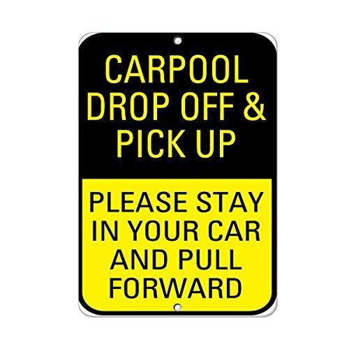 Fahrgemeinschaft Drop Off Pick Up Bitte bleiben Sie in Pull Forward Zitat Aluminium Metall Schild Geschenk für Herren Safety Sign Yard
