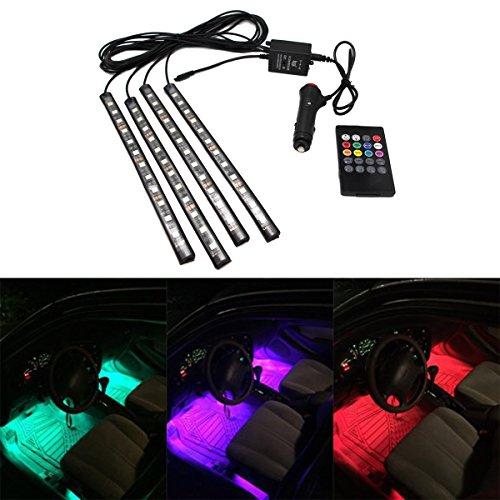 JOJOO 4pcs Atmosfera Kit 12 LED multi-colore telecomando Luci interne auto LED Neon Lights con Suoni-attivato e senza fili di IR telecomando, caricatore auto incluso, MA011