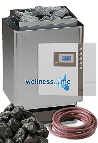 Eos 34A Edelstahl Sauna Ofen 9 kW - Deutsche Qualität inkl. Top Eos D1 Steuerung Saunasteine Well Solutions