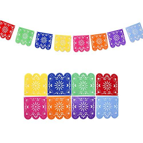JOYMEMO 8 Stück Papel Picado Banner für mexikanische Thema Fiesta Cinco De Mayo Geburtstag und Hochzeit, Filz Pinata Bunting Banner