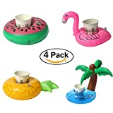 Sbarden Inflatable Drink Holder, 4Pcs Pool Cup Holders Flamingo Pineapple Coconut Tree Floats for Best Swimming Pool Inflatable Float Toys for Adults and Kids