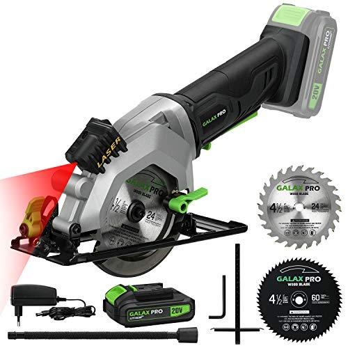 GALAX PRO Sega Circolare a Batteria, Guida Laser, Lame 115 MM, Angolo di Taglio: 42,8 mm (90°), 28 mm (45°), Velocità 3400 giri/min, Manopola di Sicurezza, Sega per Legno, il Metallo