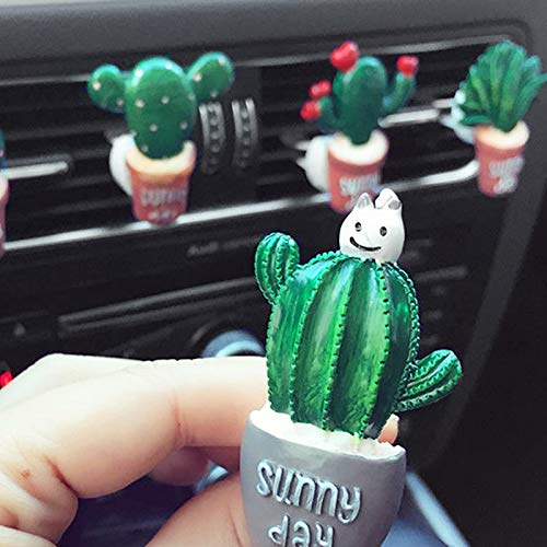 Yichener Deodorante per Auto per Aria condizionata con Clip in Resina, a Forma di Cactus, Decorazione per balsamo