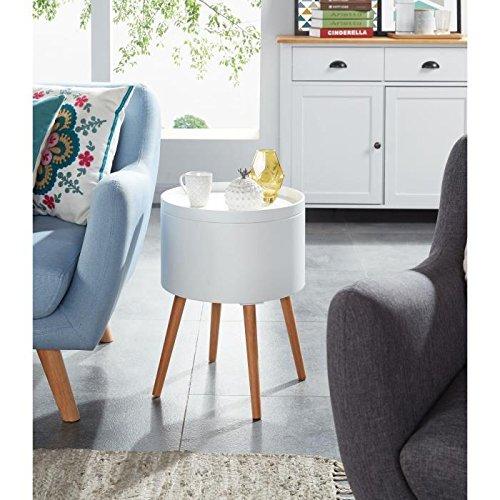 Zoe Table d'appoint ronde 38x38 cm - Laqué blanc satiné