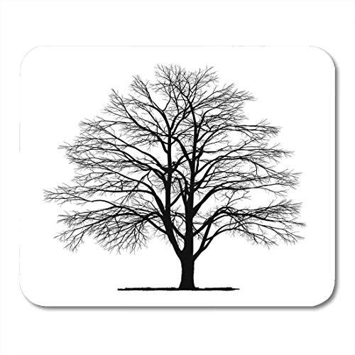 Deglogse Gaming-Mauspad-Matte, Beech White Silhouette Drawing of The Tree Detailed Black Mouse Pad, Desktop Computers mats -