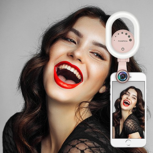 Selfie Ring Licht, Evershop Schunheit Selfie Licht mit 0,6X Breite Winkel lens mit 15X Makro-Objektiv-Kit, Clip-on aufladbare LED Ring Flash Light fur iPhone, Samsung, Huawei und alle Smartphones Rosa
