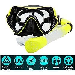 PluieSoleil Masque de Plongée Verre Trempé, Antibuée et Anti-Fuite pour Les Adultes (Jaune Tuba)