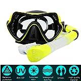 Maschera Da Sub Set Per Snorkeling PLUIESOLEIl Vetro Temperato Antiappannamento (giallo)