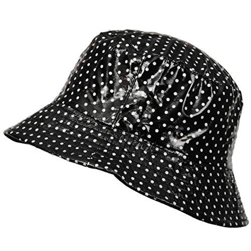 TOUTACOO, Cappello da Pioggia in Vinile Impermeabile Nero (Piselli)