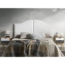 Cabezal partido tapizado Lyon 160X95 con tachuelas Blanco