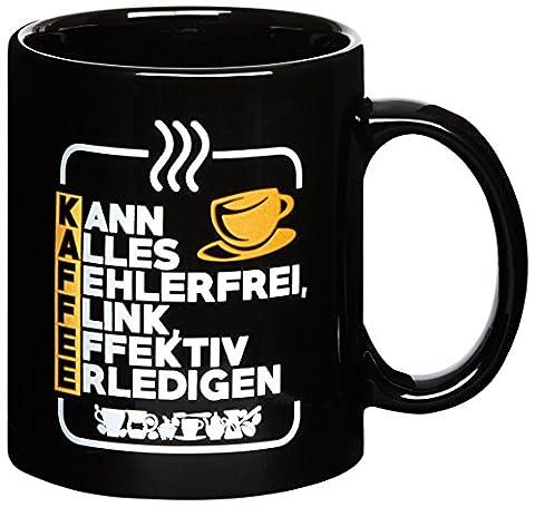 Premium-Tasse mit Spruch - Ideal für Chef, Kollegen, Mitarbeiter bei Job oder Arbeit im Büro - Schwarz - Kaffeebecher - Kaffeetasse - Kann alles fehlerfrei, flink, effektiv