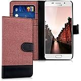 kwmobile Étui portefeuille en cuir synthétique pour Samsung Galaxy A5 (2016) - étui avec compartiment pour carte de visite et carte de crédit avec fonction support pratique en rose ancien noir