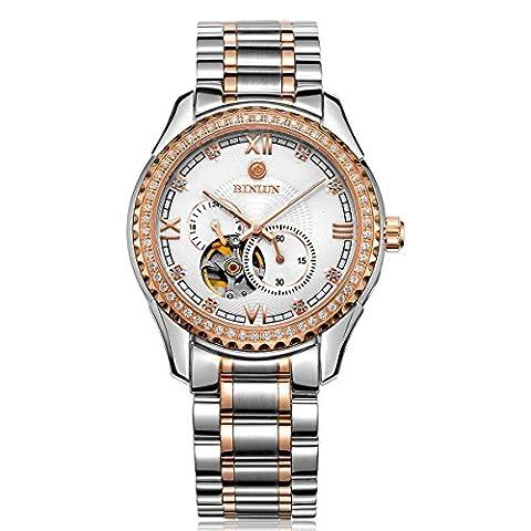binlun Gents Geschäftsmann Luxus Stahl Skelett Mechanische Armbanduhr 50m Wasserdicht