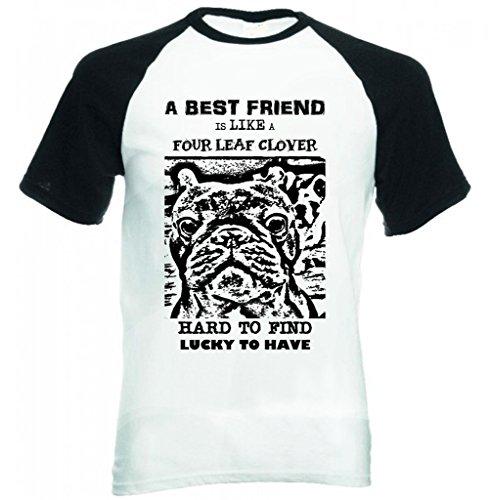 Teesquare1st Men's FRENCH BULLDOG BEST FRIEND PB 25 Black Short Sleeved Baseball T-Shirt Size Medium