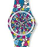 Swatch Unisex Analog Quarz Uhr mit Kautschuk Armband GE232