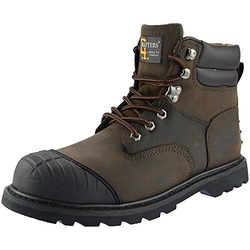 Grafters - Calzado de protección de cuero para hombre negro negro, color negro, talla 42.5