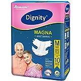 "Dignity Magna Adult Diaper Medium 10 Pcs, Waist Size 28""- 45"", (Pack of 1)"