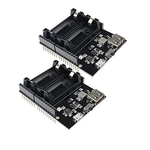 Diymore 16340 Batterie Shield Power Bank Micro USB-Anschluss Typ-A USB 5V für Arduino(2PCS) (Bank Power 5 Volt)