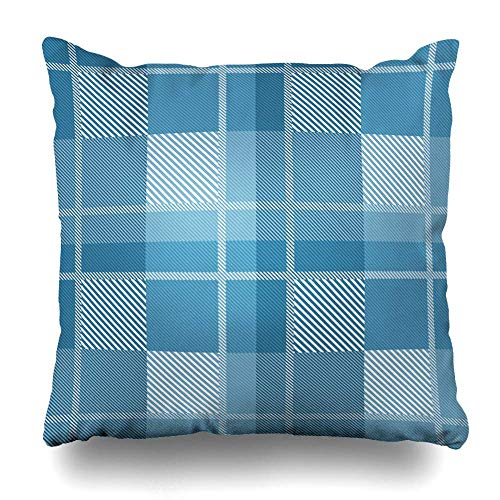 Klotr Kissenbezug Scottish Brown Check Tartan Plaid Pattern Blue Tone in Style Abstract Purple Checkered Color Crimson Pillowcase Square Size 18 X 18 Inches Zippered Home Decor Cushion Case