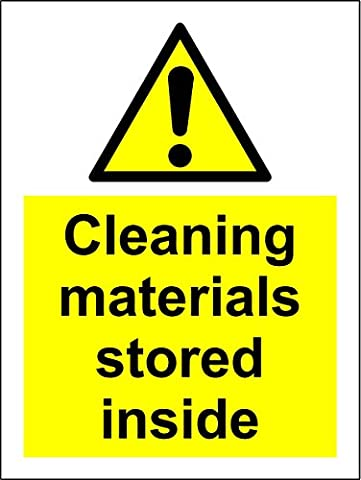 Warning Cleaning materials stored inside safety sign - Self adhesive sticker 200mm x 150mm