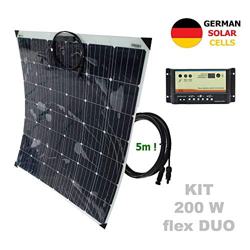 Kit 200W flex DUO 12V panel solar semi-flexible células alemanasComposición del Kit Solar:Panel solar semi-flexible 200W 12V células alemanasRegulador solar 10A DUO para 2 baterías independientes 12V/24VPar de cable solar de 4m y 4mm2 con 1 conector ...