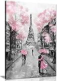 Leinwandbild, Motiv Paris, Pink/Schwarz / Weiß, Schwarz, A2 61x41 cm (24x16in)