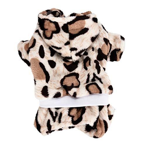 JKRTR Haustierkleidung 2019,Weiche Leopard Kleidung (Kaffee,S)