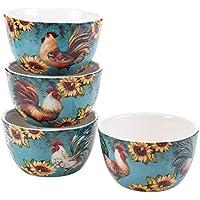 Certified International 17713SET/4 Sunflower Rooster Ice Cream Bowls (Set of