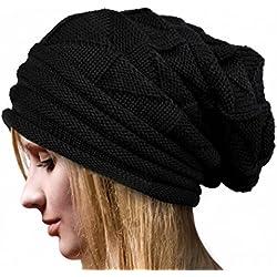 Cappelli,SW Donne Inverno Crochet Cappello Lana Lavorata A Maglia Beanie Caldo Caps (Nero)