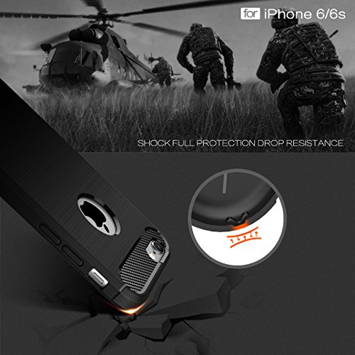 Iphone 6 6S Custodia, Protettiva Case Cover Custodia in silicone per Iphone 6 6S - Rosso Nero