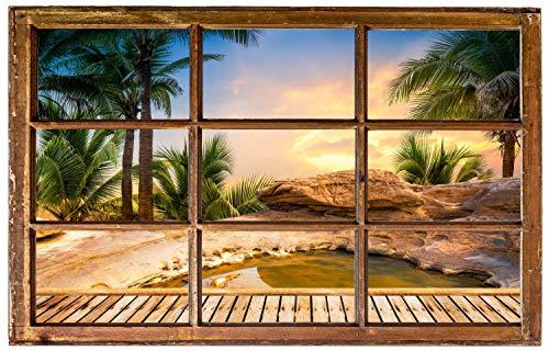Steg See Palmen Felsen Landschaft Wandtattoo Wandsticker Wandaufkleber H0361 Größe 100 cm x 150 cm
