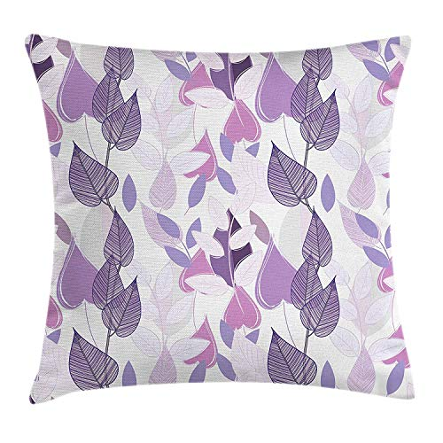 Floral Throw Pillow Cushion Cover, Foliage Leaves in Purple Tones Soft Leafage Vintage Abstract Nature Plants, Decorative Square Accent Pillow Case, 18 X 18 inches, Lavander Lilac Beige