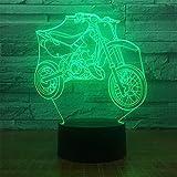 Road&Cool Beleuchtung Lichter Lampen Schlafzimmer LED Atmosphäre Acryl 3D Tischlampe Bunt USB Nachtlicht Kind Motorrad Bett Dekoration (22 * 15 * 6cm)